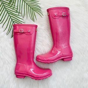 Hunter Girl's Sparkly Pink Rain Boots Size 5B